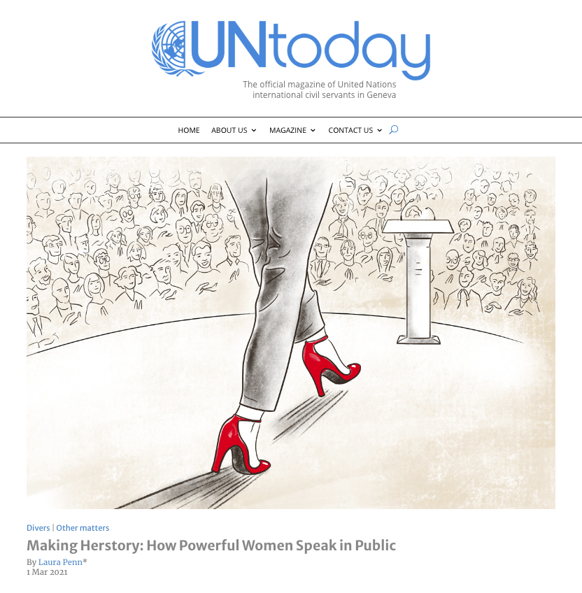 UN Today, March 2021 issue, The Leadership Speaking School, Dr. Laura Penn